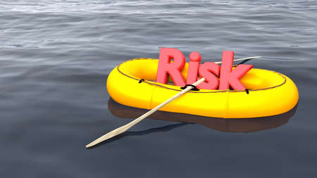 The red word risk in a yellow rubber boat alone on the ocean risk management concept 3D illustration