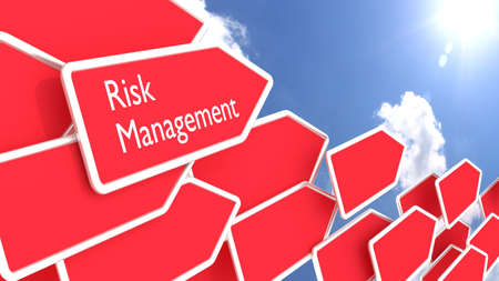 Multiple red arrow signs pointing in a direction with a cloudy blue sky and sun background risk management concept 3D illustration