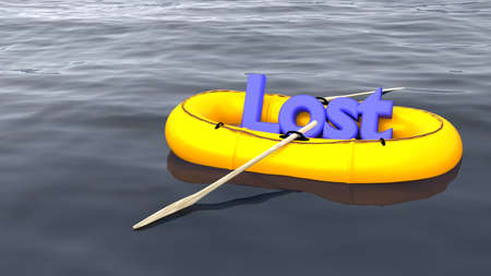 3d boat: The blue word lost in a yellow rubber boat alone on the ocean help and support concept 3D illustration