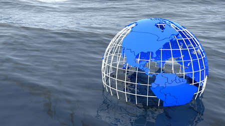 Globe drowning in the ocean save the world concept 3D illustration