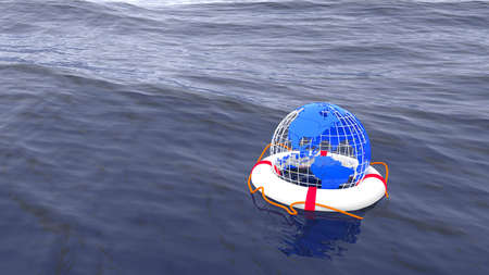 conscience: Globe swimming in a life buoy on the ocean save the planet environmental concept 3D illustration Stock Photo