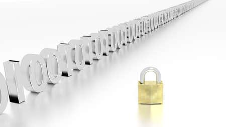 Gouden hangslot naast een rij van nul en één 3D de illustratie 3D illustratie van de datastreamcybersecurity
