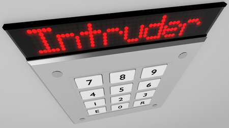 Silver number keypad closeup on a wall with a red led display on top showing the word intruder 3D illustration