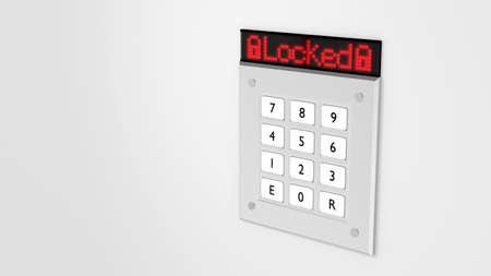 personal identification number: Silver number keypad on a wall with a red led display on top showing the word locked 3D illustration Stock Photo