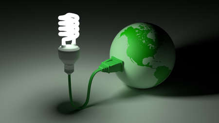green globe: Green globe showing north and south america connected to an energy saving bulb 3D illustration