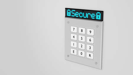 personal identification number: Silver number keypad on a wall with a blue led display on top showing the word secure 3D illustration Stock Photo