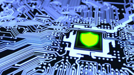 Blue circuit board closeup connected to a cpu with a glowing green shield symbol on top cybersecurity concept 3D illustration