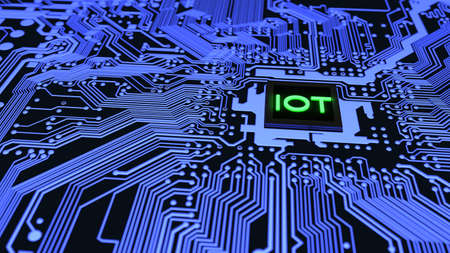 Blue circuit board closeup connected to a cpu with a glowing iot symbol on top internet of things cybersecurity concept 3D illustration Stock Photo