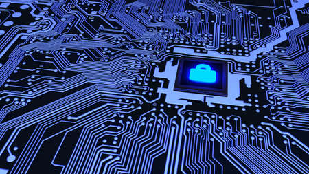 Blue circuit board closeup connected to a cpu with a glowing padlock symbol on top cybersecurity concept 3D illustration Stockfoto