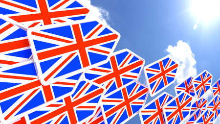 commander: Flying arrows with the british flag heading towards the sun britain first concept 3D illustration Stock Photo