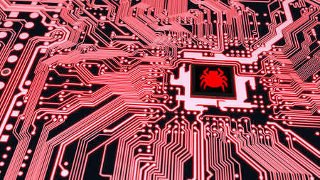 Red circuit board closeup connected to a cpu with a glowing red bug symbol on top cybersecurity concept 3D illustration