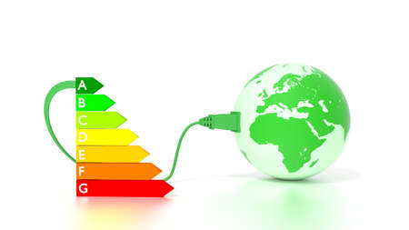Green globe showing europe and africa plugged into an energy efficiency graph 3D illustration Stock Photo