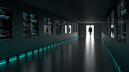 A hacker in a black suit enters the backdoor of a room with screens showing a glowing computer code cybersecurity concept 3D illustration
