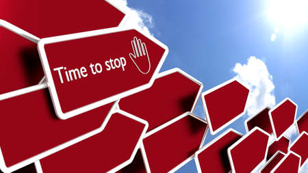 Red arrows with the words time to stop in front of a cloudy blue sky pointing towards the sun  3D illustration
