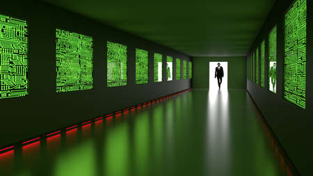 A hacker in a black suit enters the backdoor of a room with screens showing a glowing circuit and a red alarm light iot cybersecurity concept 3D illustration