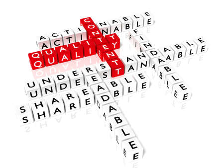 Crossword puzzle showing content quality components as dice on a white board SEO concept 3D illustration