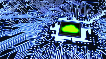 Blue circuit board closeup connected to a cpu with a glowing green cloud symbol on top cloud computing concept 3D illustration Stock Photo