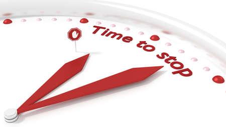 3 D イラストレーションを停止する単語の時間を指している 2 つの赤い手の時計します。
