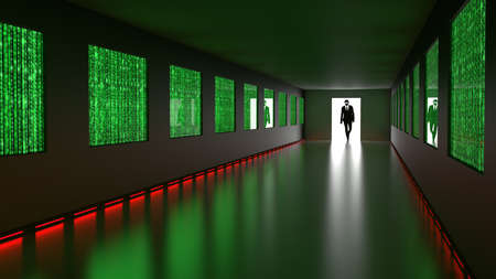 A hacker in a black suit enters the backdoor of a room with screens showing binary data streams and a glowing red alarm light cybersecurity concept 3D illustration