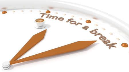 break time: Clock with two brown hands and a coffee pointing to the words time for a break 3D illustration