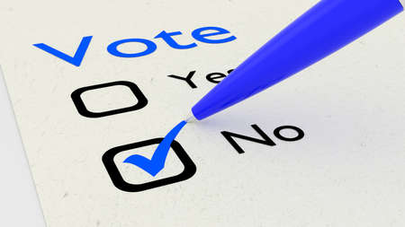Voting paper with checkboxes and a green pen setting a tickmark at no 3D illustration Stock Photo