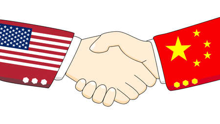 Illustration of two persons shaking hand with country colored arms of China and USA Stock Photo