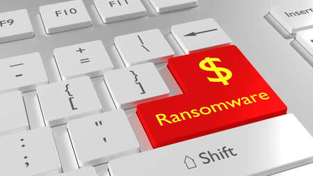 White keyboard with a red enter key showing the word ransomware and a dollar sign cybersecurity concept 3D illustration