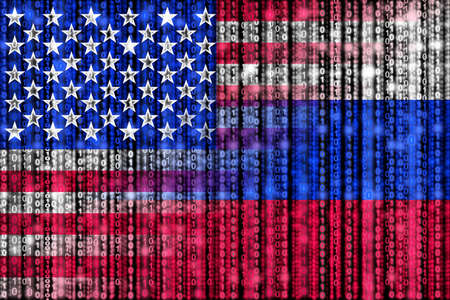 American digital flag morphing into russian binary flag