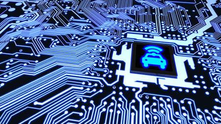 Primer azul de la placa de circuito conectado con una CPU con un símbolo brillante del wifi del coche en el ejemplo superior elegante del concepto 3D del vehículo