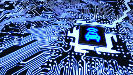 Blue circuit board closeup connected to a cpu with a glowing car wifi symbol on top smart vehicle concept 3D illustration
