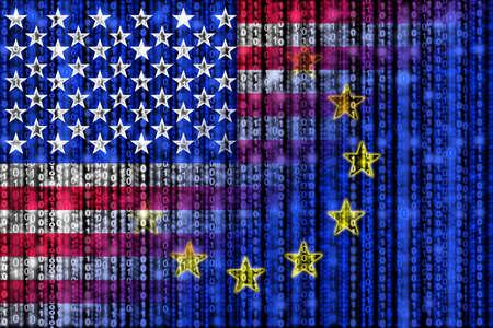 American digital flag morphing into european binary flag