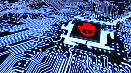 Blue circuit board closeup connected to a cpu with a glowing stop hand symbol cybersecurity concept 3D illustration