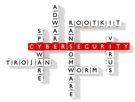 십자가 퍼즐 화이트 보드에 주사위로 사이버 보안 키워드를 보여주는 사이버 보안 개념 3D 그림