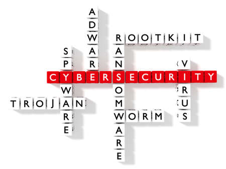 Crossword puzzle showing cybersecurity keywords as dice on a white board cybersecurity concept 3D illustration Zdjęcie Seryjne