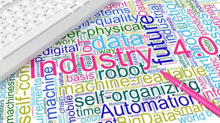 業界 4 キーワード wordcloud とピンクのペン製造概念 3 d 図将来白い机の上のコンピューターのキーボード