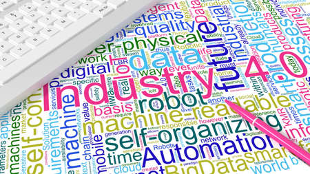 Computer keyboard on white desk with industry 4 keywords wordcloud and pink pen future manufacturing concept 3d illustration