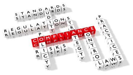 Crossword puzzle showing compliance keywords as dice on a white board business concept 3D illustration Stock Photo