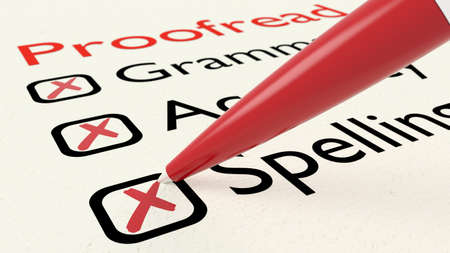 Checklist of proofreading characteristics grammar accuracy and spelling on paper crossed off by a red pen 3D illustration