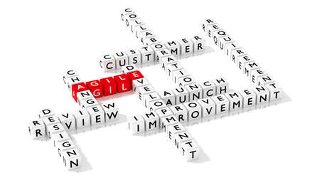 Crossword puzzle showing agile development keywords as dice on white business concept 3D illustration