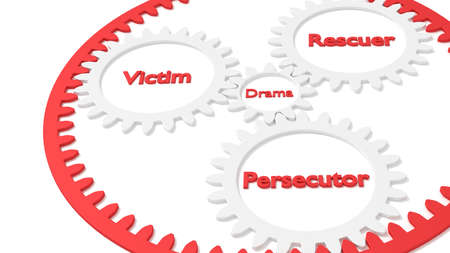 Drama triangle relationship between victim rescuer and persecutor illustrated as planetary gear 3D illustration 版權商用圖片