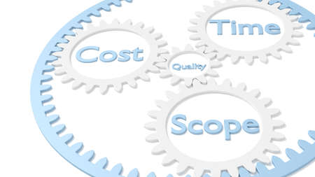 Planetaire uitrusting met de relatie tussen de duur van de kosten en de kwaliteit in de 3D-illustratie van de projectbeheerdriehoek
