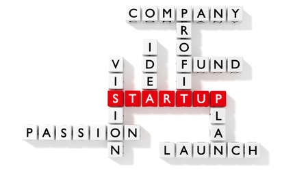 Crossword puzzle showing startup keywords as dice on white business concept flat design 3D illustration