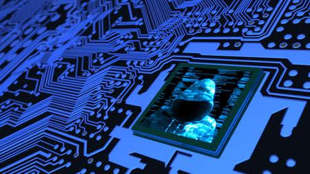사물의 인터넷 사이버 보안 개념 해커와 컴퓨터 칩 cpu 3D 그림에서 회로 보드 스톡 콘텐츠