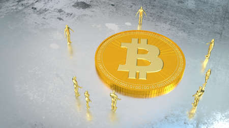 miniature: Group of golden people standing around a giant golden bitcoin on wet silver floor 3D illustration Stock Photo