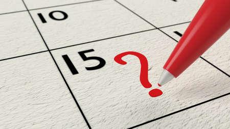 scheduler: Red ball pen drawing a question mark into a calendar 3D illustration Stock Photo