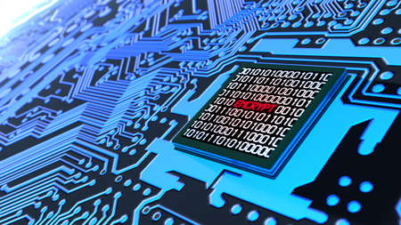 Encrypted data cybersecurity concept circuit board with binary datastreams and the word encrypt on cpu 3D illustration Standard-Bild