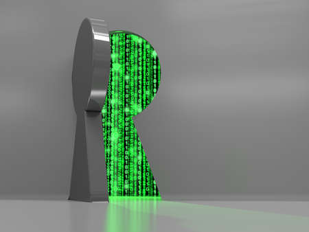 Keyhole in a wall with a thick metal door opening revealing green binary data streams backdoor cybersecurity concept 3D illustration