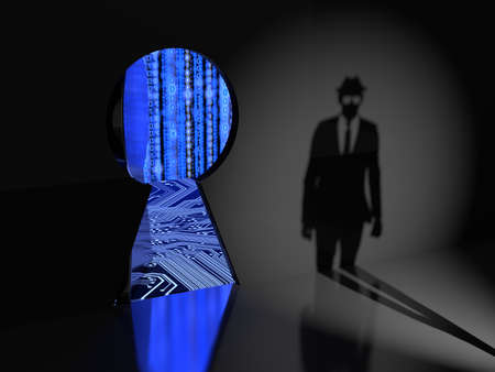 Keyhole in a wall with a thick metal door opening revealing blue binary data streams and  a circuit board and a hacker silhouette approaching backdoor cybersecurity concept 3D illustration Stock Photo