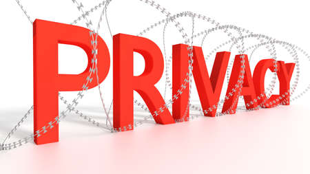 Big red word privacy surrounded by barbed wire on white security concept 3D illustration