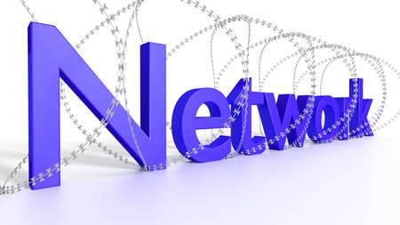 Grande rete blu di parola circondata da filo spinato sull'illustrazione bianca di concetto 3D di sicurezza Archivio Fotografico - 81117619